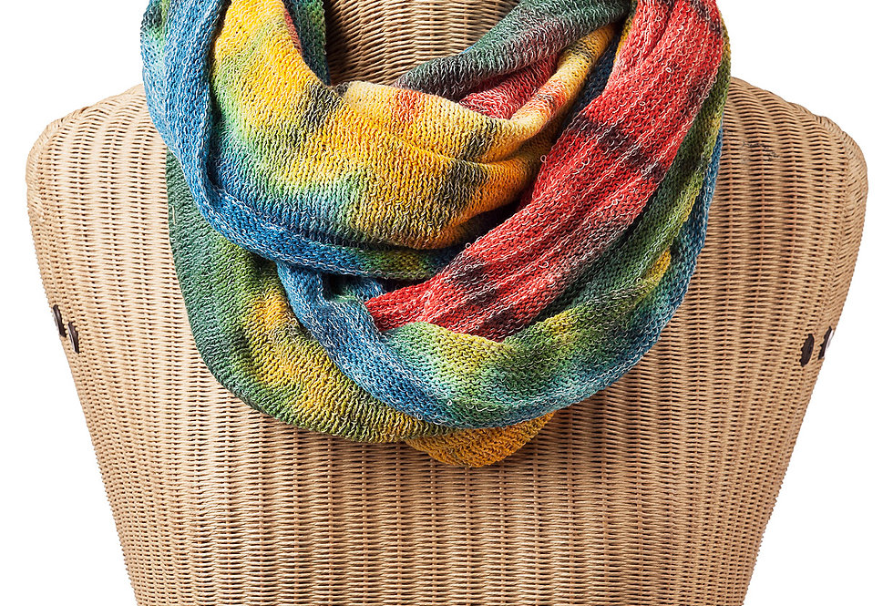 Ark Fair Trade Tie-Dye Magic Infinity Scarf on bust-rainbow