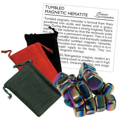 Nature's Expression 'Sticky Stones' Magnetic Rainbow Hematite with pouches and descriptive sheet