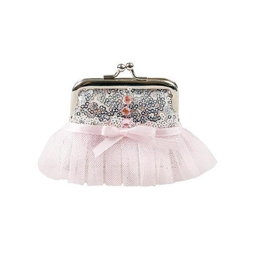 Great Pretenders silver tutu coin purse with pink tutu frill