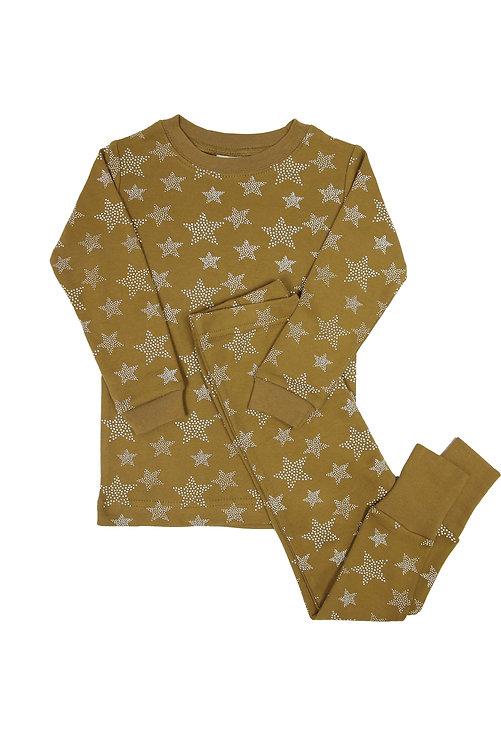 2 piece set of kids pajamas ochre with white stars print