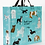 Large blue rectangular shopping bag with 2 handles - images of various kinds of dogs