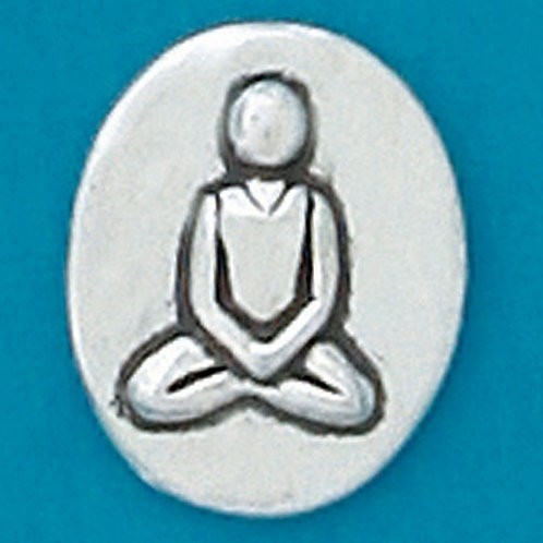 Oval shaped pewter charm engraved with yoga figure cross-legged image
