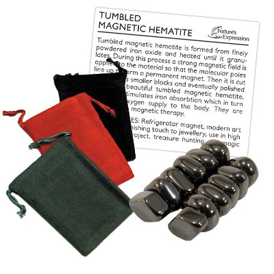 Nature's Expression 'Sticky Stones' Magnetic Hematite with pouch and descriptionsheet