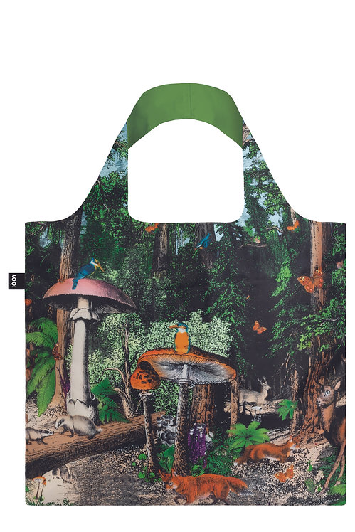 Dark green & black wide handled cloth shopping bag with animals in a forest of giant mushrooms