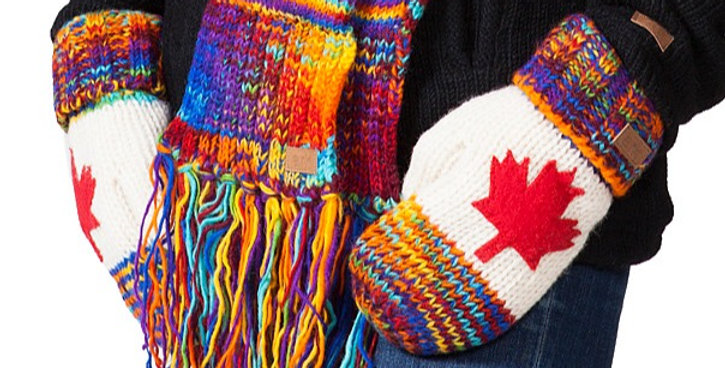 Knit wool mitts blended rainbow colors tips & cuffs, white center with red maple leaf