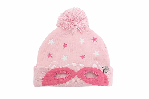 2-tone pink knitted toque with pompom & cat face stitched onto front, cuffed brim folded back