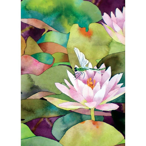 Front of card green pond & dragonfly on pink waterlily