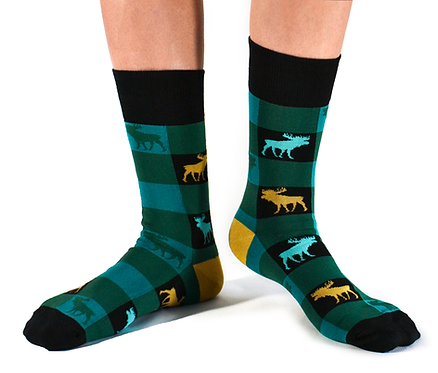 Turquoise, black & green checked Socks with gold & turquoise moose silhouettes and black trim