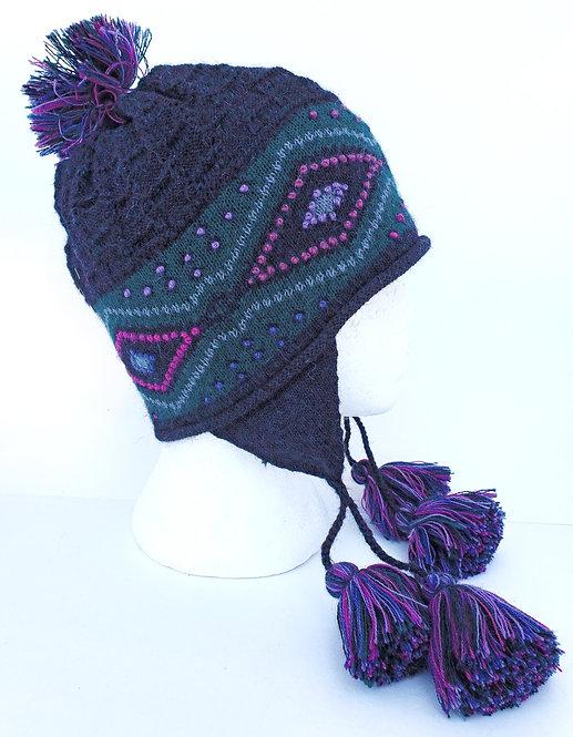 Peruvian Link Alpaca Hat, Diamond Night Chullo