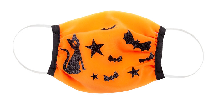 orange kids protective cotton mask with black cats, stars & bats
