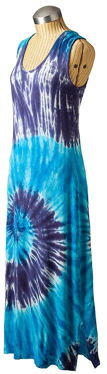 front-side Aloha maxi dress floor length shift sleeveless round neck big navy tie-dye pattern wave shape on turquoise white