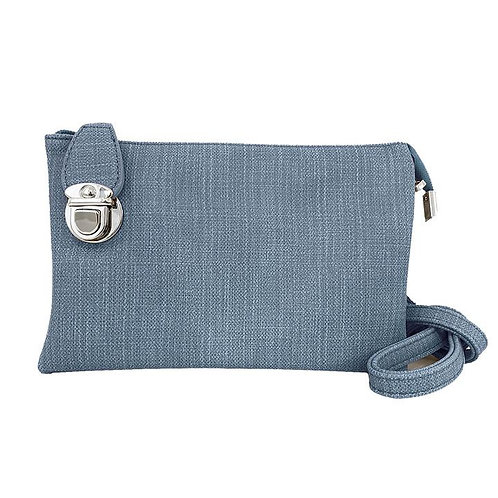 Dusty blue colored linen-look finish small rectangular purse with latch at side
