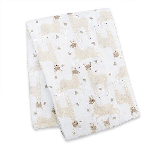 folded white blanket with 2 tone-gray llama print
