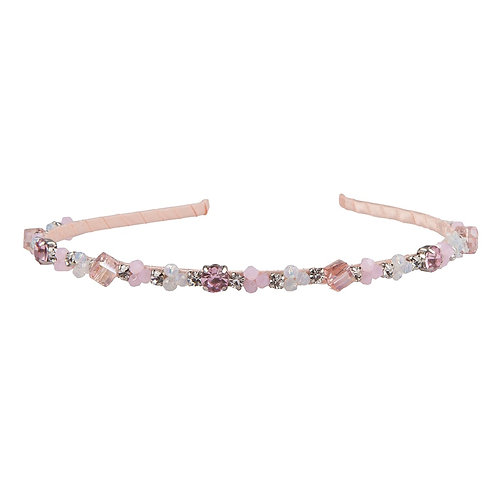 Delicate rhinestones & flowers on narrow pink headband