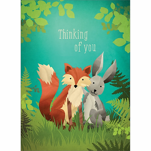 Front of blue & green card with fox & rabbit-text: Thinking of you""