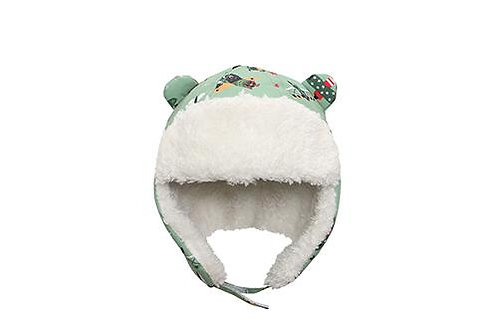 Front view green water repellent trapper hat with bears print and white sherpa lining with earflaps down