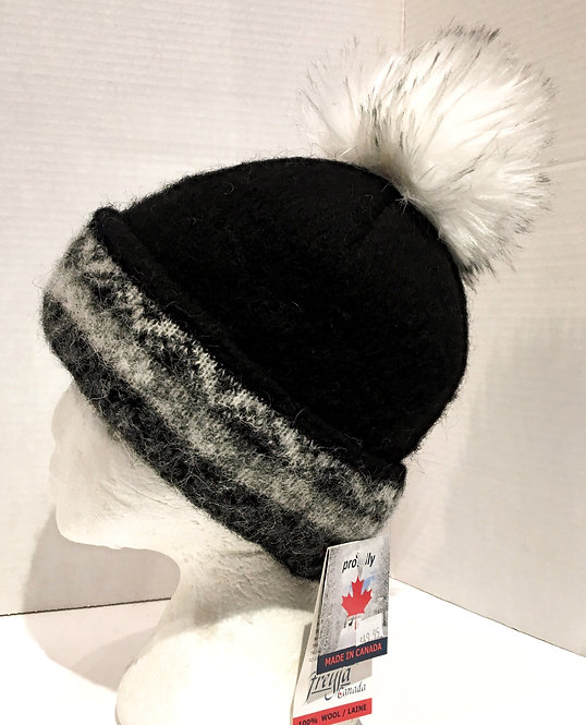 Solid black wool toque with black, gray & white pattern on cuff & white faux fur pompom