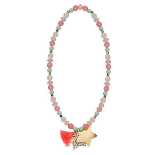 Child's dress-up necklace of colorful beads with orange tassel & glittery gold star pendant