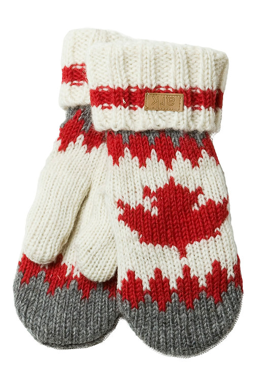 Gray, red & white wool knit mitts with ribbed cuffs & maple leaf on front
