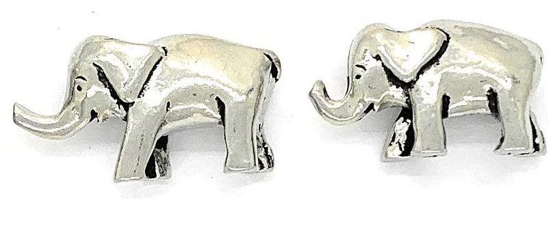2 miniature pewter elephants