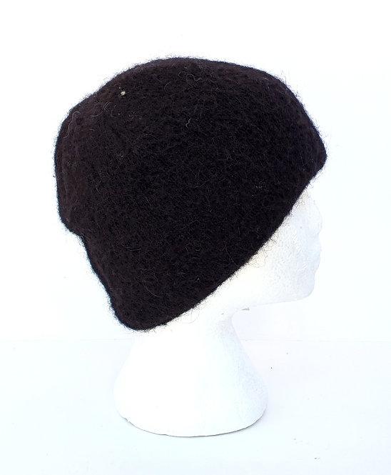 Solid black wool toque