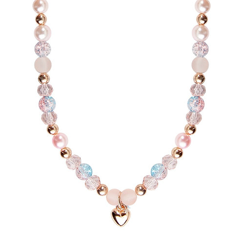 Child's dress-up necklace with pink, blue & gold beads & a gold heart pendant