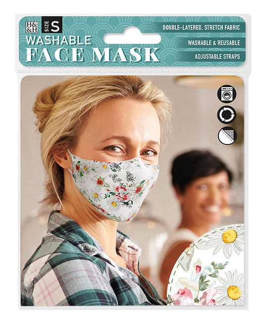 Packaging showing model wearing white mask with pink & yellow floral print