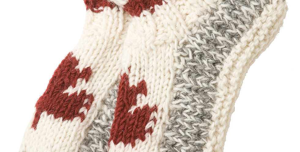 Knitted wool Maple Cabin Booties in gray with white tops-red band around ankle-red maple leaf