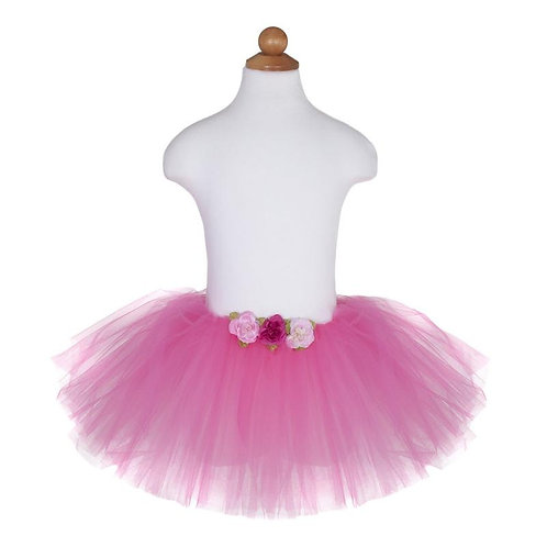 Many layered dark pink tulle tutu with 3 pink rose-like flowers at center waist band