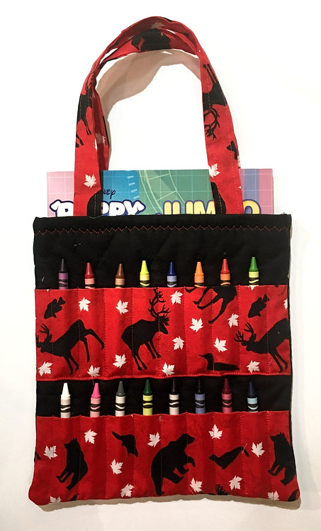 Flat rectangular red & black cotton tote bag holding a crayon book & 16 slots for crayons on the front