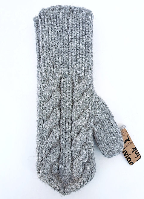 Peruvian Link Alpaca Mittens, Fancy Trenza Cable Knit silver gray