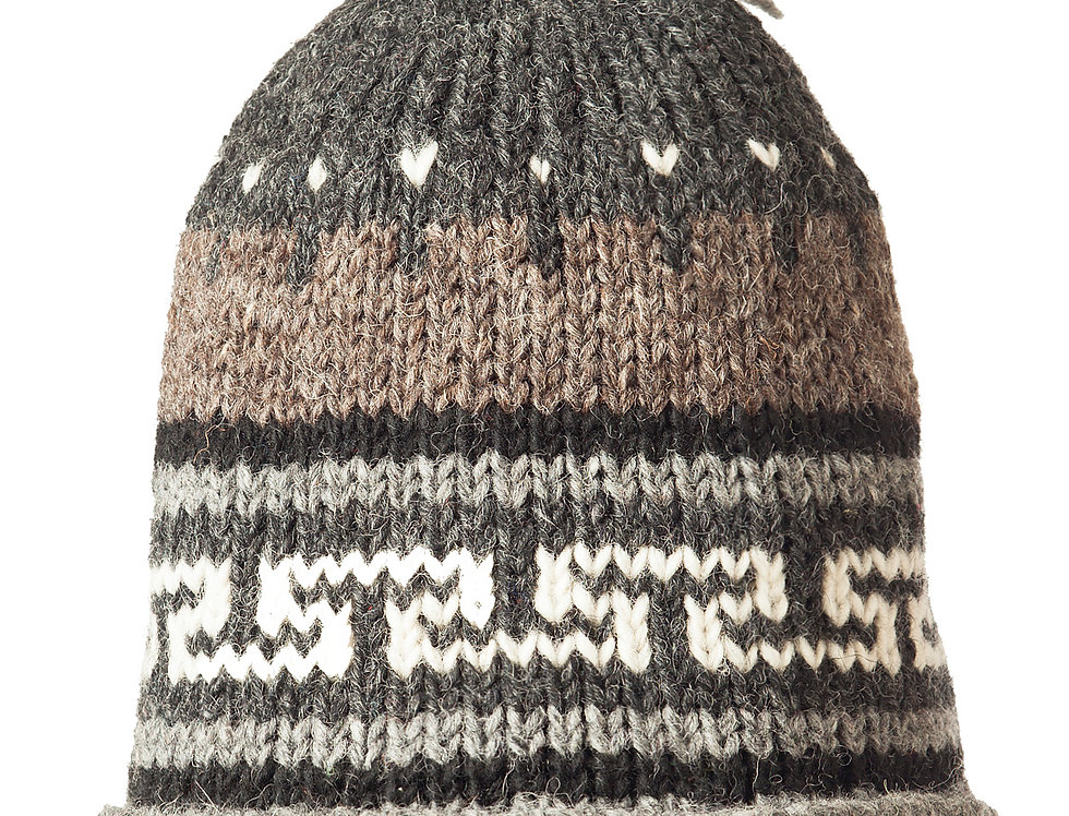 Knit wool hat brown & gray with geometric pattern in dark gray and white, pompom