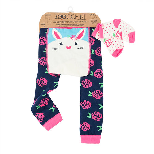 packaged set of navy leggings with pink flowers-white bunny on back, matching socks