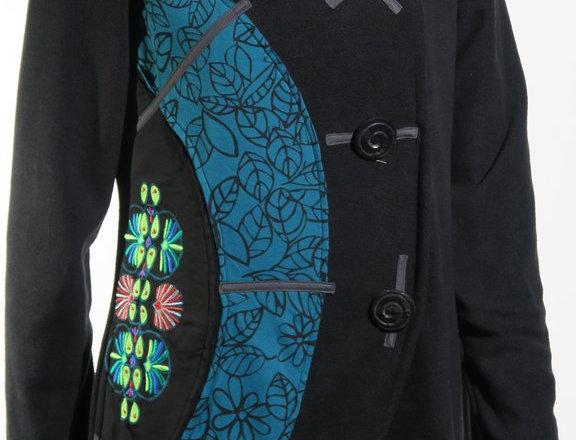 Embroidered Half-Circle Fleece Jacket