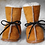 Front view of tan sheepskin slippers-natural white fleece interior-black laces-cuffs turned up