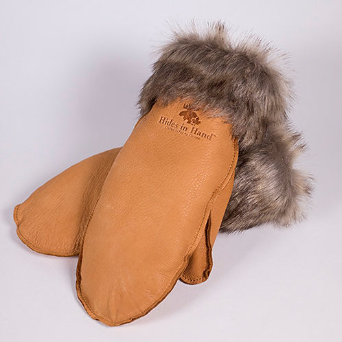 Pair of tan deerskin mitts with brown faux fur trim at cuff