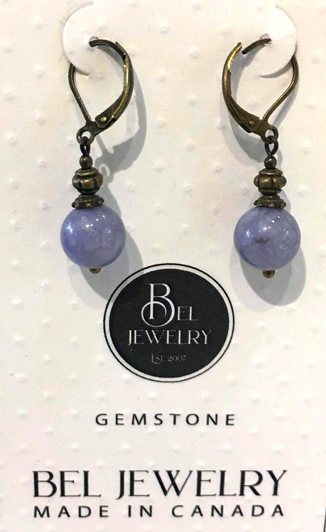 Bronze metal latch back earrings with light mauve round on Card from BEL Jewelrystone