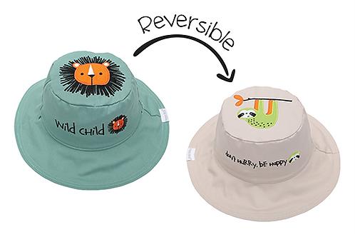Flapjack Kids 2 in 1 Lion / Sloth Reversible Baby & Kid Sun Hat both sides