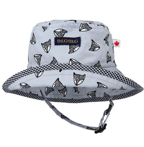 Snug as a Bug Be Brave Sun Hat black foxes on gray background, front view