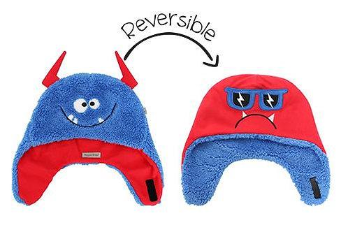 Blue & red reversible fleece/sherpa hats-happy monster on blue sherpa side-mad monster on red fleece side