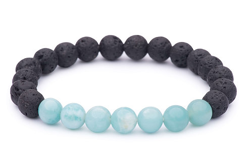 Lava Bead Stretch Bracelet with amazonite beads