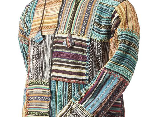 Ark Fair Trade Geddy Patch Jacket with front pockets, zipper and hood, typical Nepali striped fabric in patchwork design