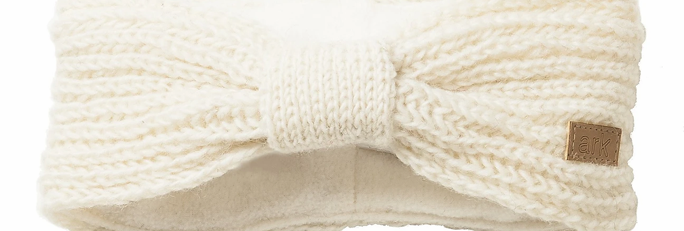 Solid white rib knit wool headband with knit band around it to create a bow effect