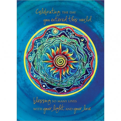'Celebrating the Day when You entered this world'-blue Mandala design-'blessing so many with your light & your love'