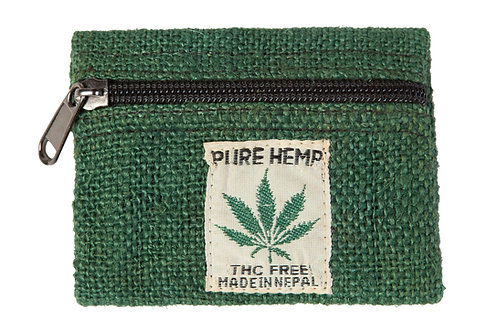 Ark Fair Trade Hemp Coin Purse green-sewn on tag reads PURE HEMP THC FREE MADE IN NEPAL in small writing