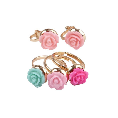 Child's dress-up pink rose shaped earring studs & 3 rose shaped rings