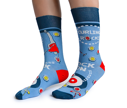 Left view of pair of blue socks with red curling print-text 'Curling Rocks' & 'Rock On'""
