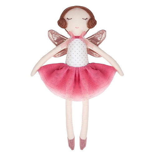 Great Pretenders Sara the Fairy Doll with brown hair, shiny pink wings and shoes, and pink tutu dress