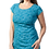 Model short sleeve round neck knee length A-line dress-pleat-like stitching down 1 side small leaf print light teal-dark teal