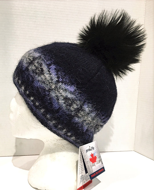 Navy blue Wool toque with mauve & tan pattern & black pompom